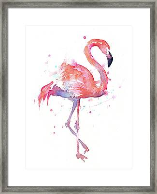 Flamingo Watercolor Facing Right Framed Print by Olga Shvartsur