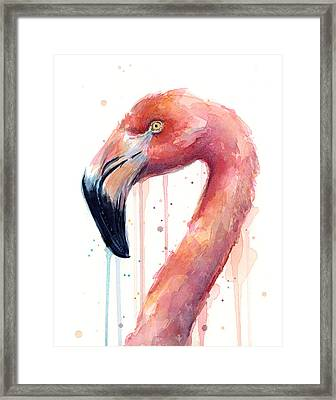 Flamingo Watercolor Illustration Framed Print by Olga Shvartsur
