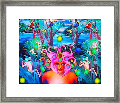 Flamingodeusa In The Neon Jungle Framed Print