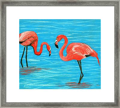 Framed Print featuring the painting Flamingos by Anastasiya Malakhova