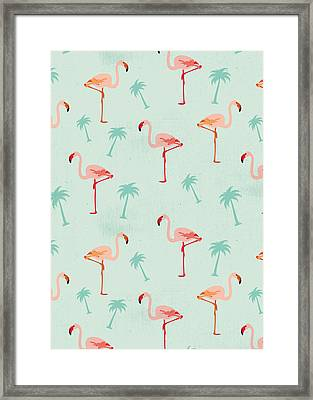Flamingos And Palm Trees Framed Print by Vitor Costa