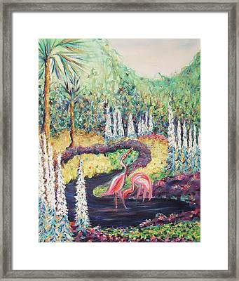 Flamingo's In Florida Framed Print by Suzanne  Marie Leclair