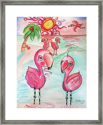 Flamingos In The Sun Framed Print