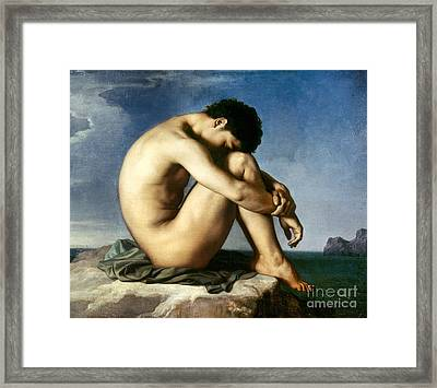 Flandrin: Nude Youth, 1837 Framed Print by Granger