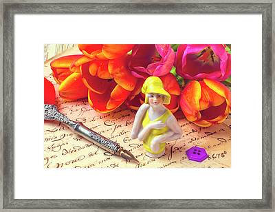 Flapper Doll And Tulips Framed Print