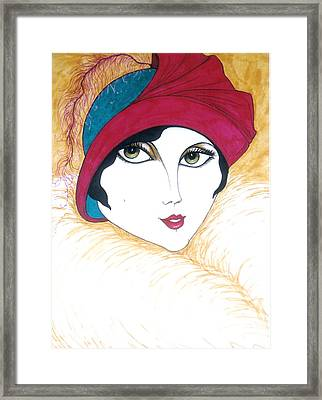 Framed Print featuring the greeting card Flapper Girl 1 by Rae Chichilnitsky