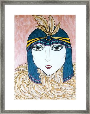Framed Print featuring the greeting card Flapper Girl 2 by Rae Chichilnitsky