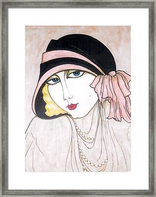 Framed Print featuring the greeting card Flapper Girl 3 by Rae Chichilnitsky