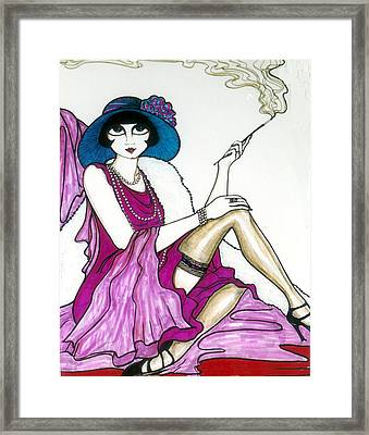 Framed Print featuring the greeting card Flapper Girl 4 by Rae Chichilnitsky
