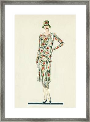 Flapper In An Afternoon Dress Framed Print by American School