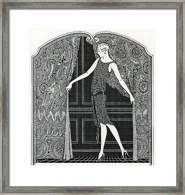 Flapper Opening A Curtain Framed Print by American School