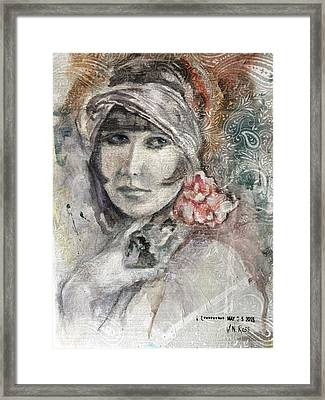 Flapper With Peony Framed Print