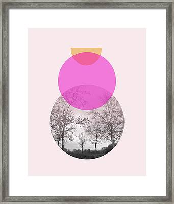 Flare In Pink And Yellow- Art By Linda Woods Framed Print