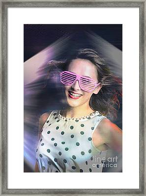 Flashback Of The Retro Hologram Girl Framed Print