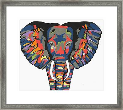Flashy Elephant - Contemporary Animal Painting Framed Print