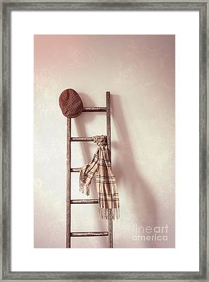 Flat Cap And Scarf On Rustic Ladder Framed Print