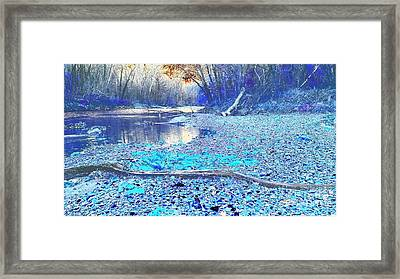 Flat Rock River Columbus Indiana - Blue Abstract Framed Print