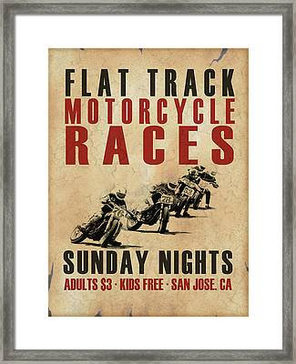 Flat Track Motorcycle Races Framed Print