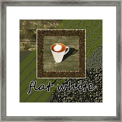 Flat White - Coffee Art - Green Framed Print
