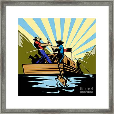 Flatboat Along River Framed Print by Aloysius Patrimonio