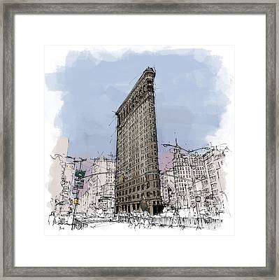 Flatiron Building, New York Sketch Framed Print by Pablo Franchi