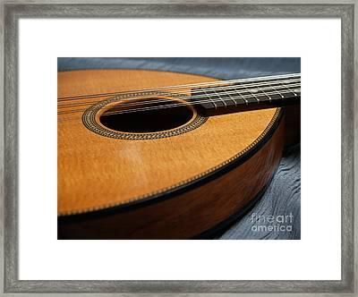 Flatiron Mandolin On Blue Framed Print