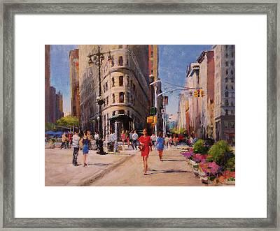 Flatiron Plaza, Summer Morning Framed Print