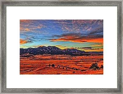 Framed Print featuring the photograph Flatiron Sunset Fire Red by Scott Mahon