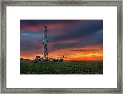 Flatland Drilling Framed Print by Thomas Zimmerman