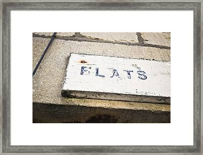 Flats Sign Framed Print by Tom Gowanlock