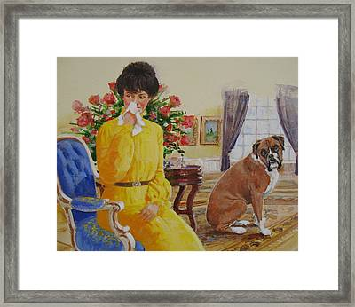 Framed Print featuring the painting Flatulent Boxer by Cliff Spohn