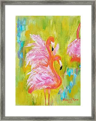 Framed Print featuring the painting Flaunting Feathers by Judith Rhue
