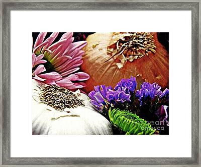 Flavored With Onion And Garlic Framed Print by Sarah Loft