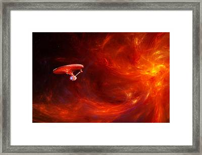 Fleeing The Fire Storm Framed Print