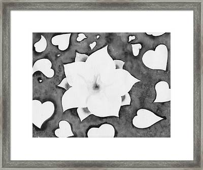 Framed Print featuring the painting Fleur Et Coeurs Monochrome by Marc Philippe Joly