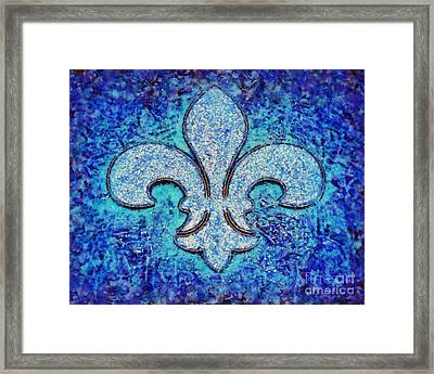 Fleur De Lis Blue Ice Framed Print by Janine Riley