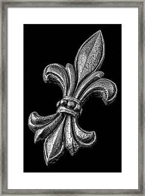 Fleur De Lis In Black And White Framed Print