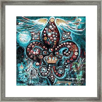 Framed Print featuring the painting Fleur De Lis Steampunk Style by Genevieve Esson