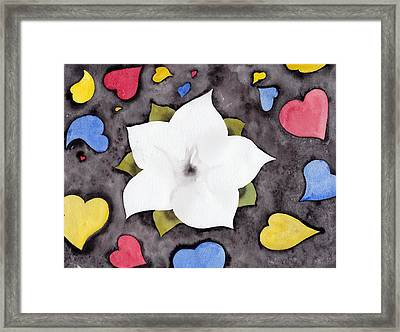 Framed Print featuring the painting Fleur Et Coeurs by Marc Philippe Joly