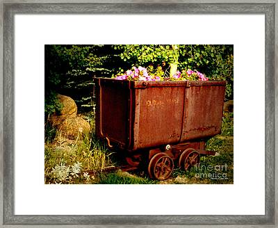 Fleurs In Rustic Ore Car Framed Print by Christine S Zipps