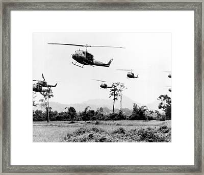 Flight Of Uh-1 Troopships Framed Print by Underwood Archives