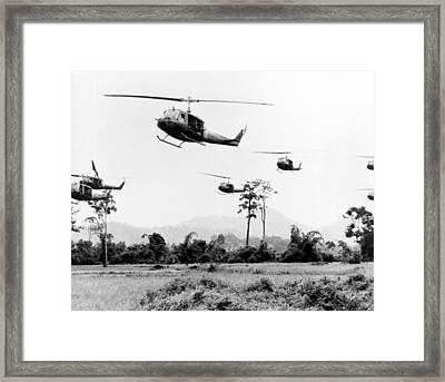 Flight Of Uh-1 Troopships Framed Print