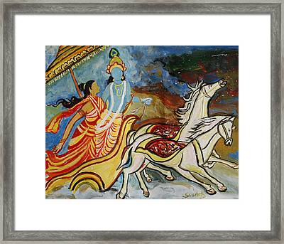 Flight Of Rukmini With Krishna Framed Print