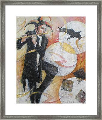Flight Of The Crow - Jester Playing A Flute Framed Print