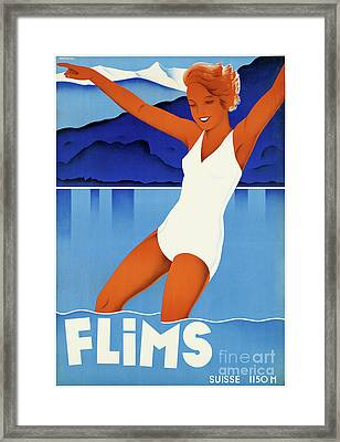 Flims Switzerland Vintage Travel Poster Restored Framed Print by Carsten Reisinger