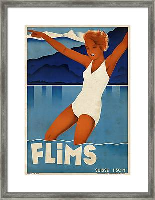 Flims - Switzerland - Vintagelized Framed Print by Vintage Advertising Posters