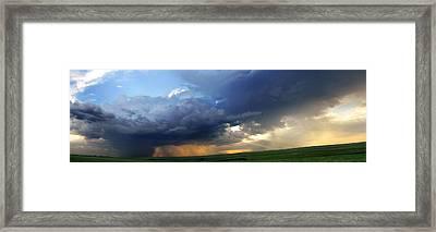 Flint Hills Storm Panorama 2 Framed Print