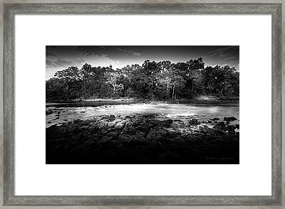 Flint River Rapids B/w Framed Print