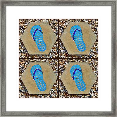 Flip Flop Square Collage Framed Print