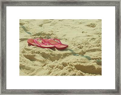 Flip Flops In The Sand Framed Print by Beverly Hammond